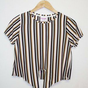 NWT Mango Striped Top Size 16 Pastel Front Bow Tie Stretch